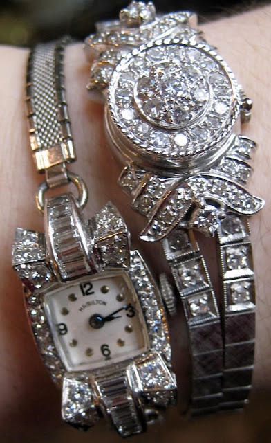 Two mid-century diamond watches.