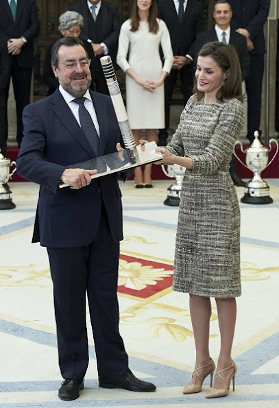 Queen Letizia wore Felipe Varela dress and wore Magrit Shoes in beige, Queen Sofia