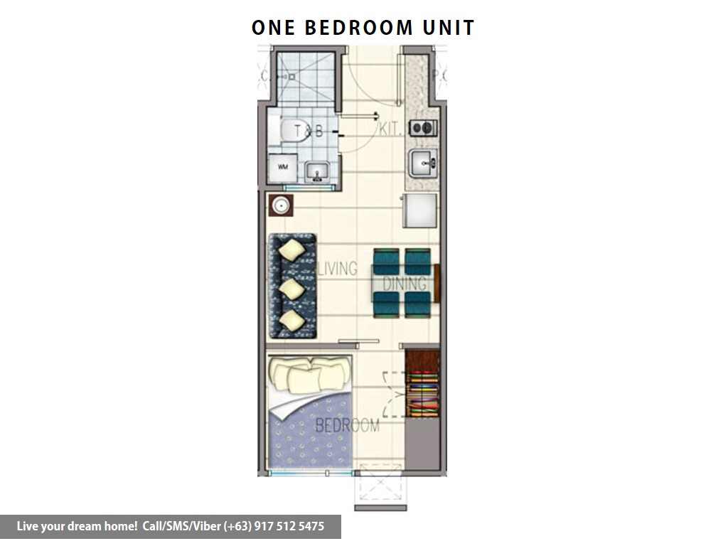 Floor Plan of SMDC Grass Residences - 1 Bedroom | Condominium for Sale Quezon City