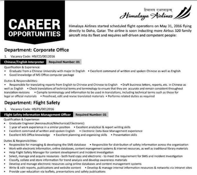 Career Opportunities In Himalaya Airlines, Nepal