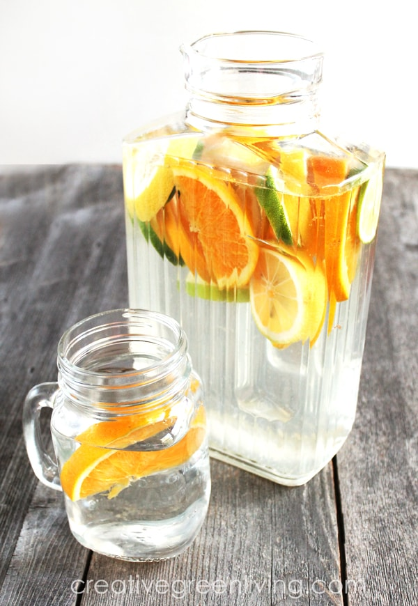 Infused water recipes with citrus fruit like lemon, orange and grapefruit