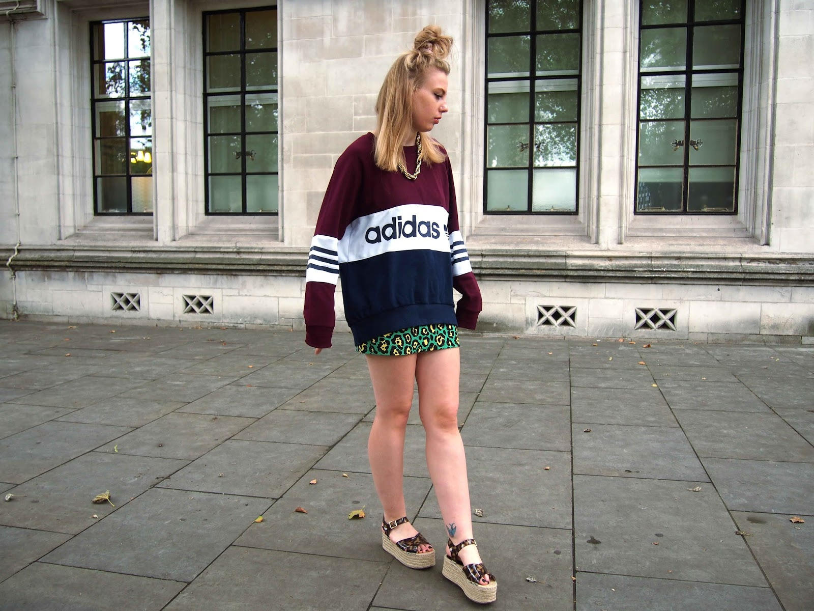 adidas jumper, gold vintage chunky chain, asos tiara flatform platform espadrilles, leopard print coord, ootn, grunge night outfit, colourful alternative ootd, festival style fashion 7