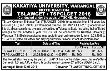 TS LAWCET 2017 Online Application TSLAWCET Notification