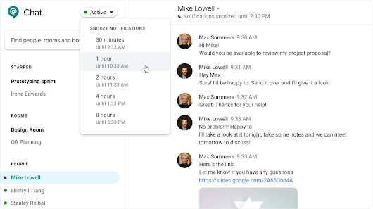 Snooze notifications in Hangouts Chat