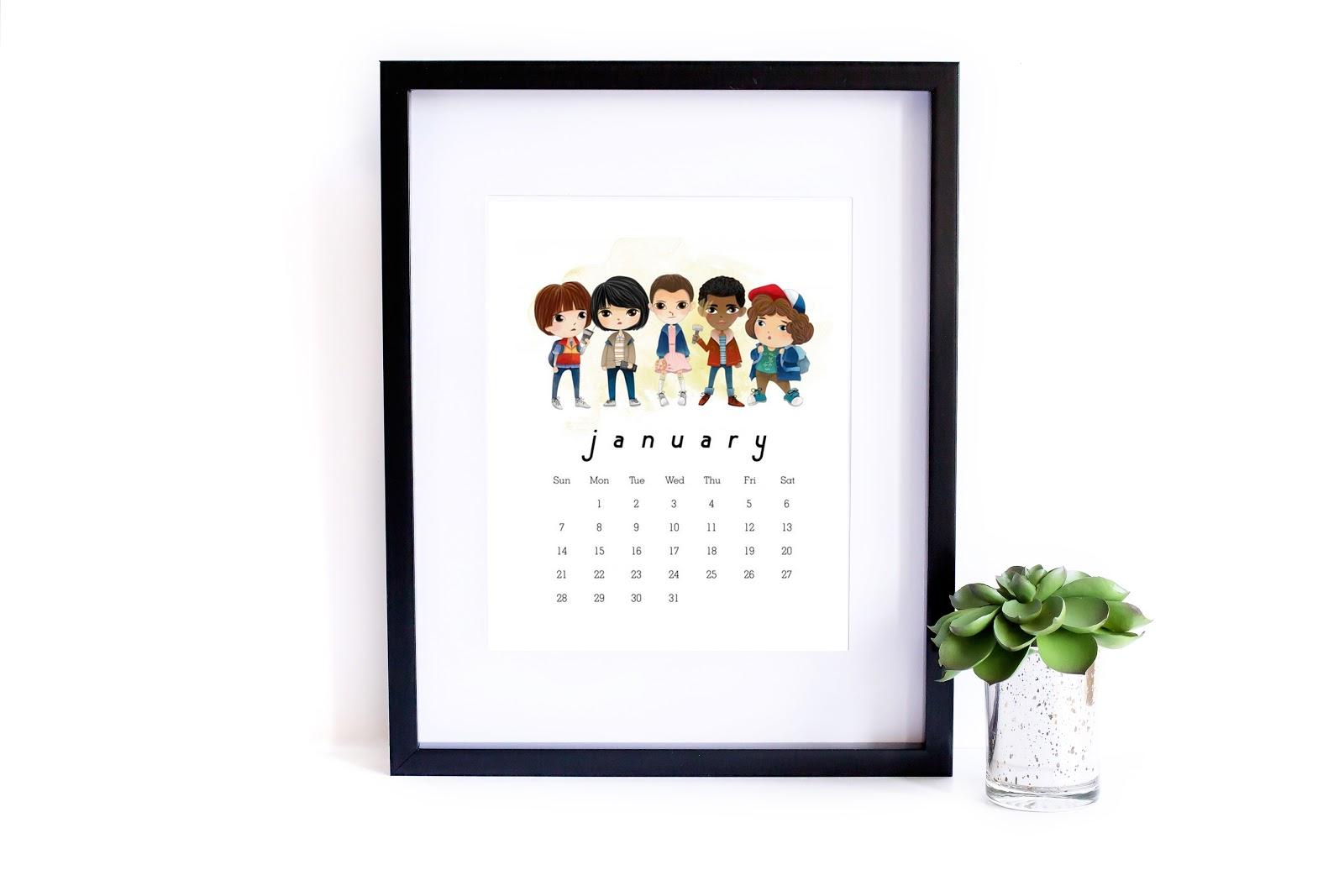 "kalendarz 2018 dla fanów ""Stranger Things"""