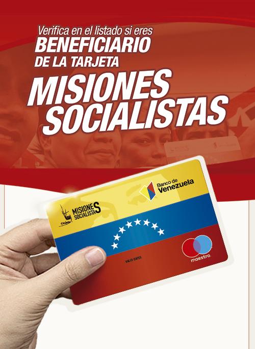 Listado de beneficiarios de la Tarjeta Misiones Socialistas Banco de Venezuela