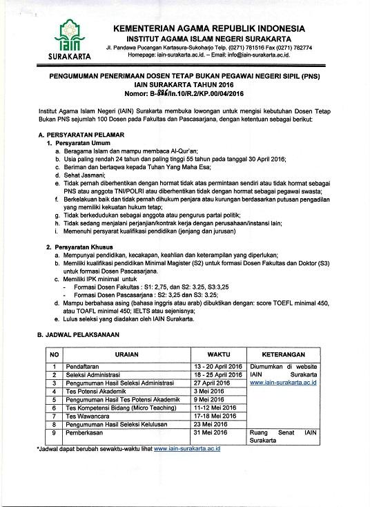 Dilansir dari situs resmi IAIN Surakarta Lowongan Penerimaan Dosen Tetap Bukan Pengawai Negeri Sipil Institut Agama Islam Negeri (IAIN) Surakarta