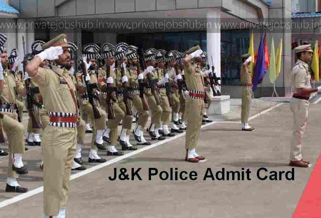 J&K Police Admit Card