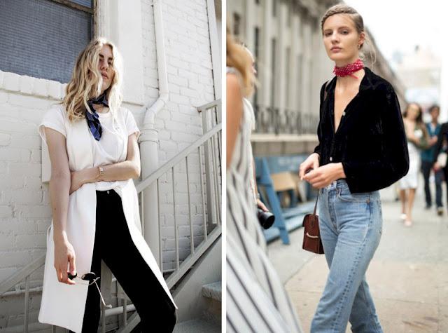 Девушки с шейным платком в минималистской одежде