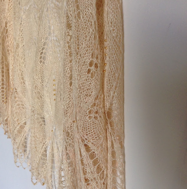 silk beaded wedding shawl