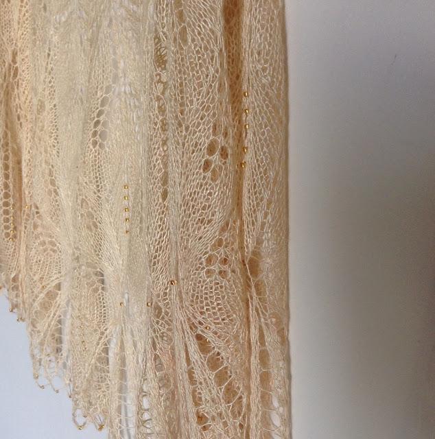 silk beaded wedding shawl