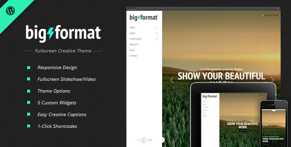 Free Download BigFormat v1.4.1 Responsive Fullscreen Creative WordPress Theme