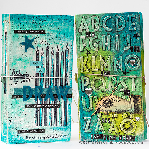 Layers of ink - Sketchbook and Alphabet Journals tutorial by Anna-Karin Evaldsson with Eileen Hull Sizzix Journal die.