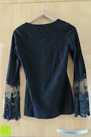hinten: StyleDome Damen Spitze Langarm Kragen Runde Elastische Shirt Tops