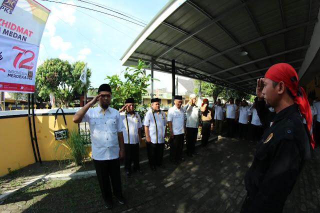 Penuh Khidmat, PKS Kota Medan Gelar Upacara Kemerdekaan RI ke 72