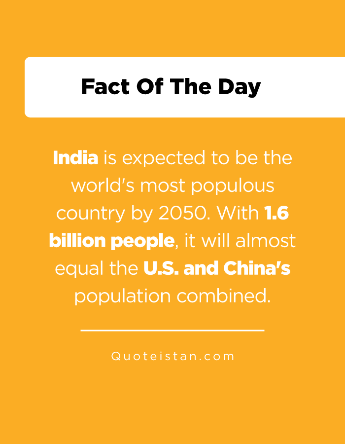 India is expected to be the world's most populous country by 2050. With 1.6 billion people, it will almost equal the U.S. and China's population combined.