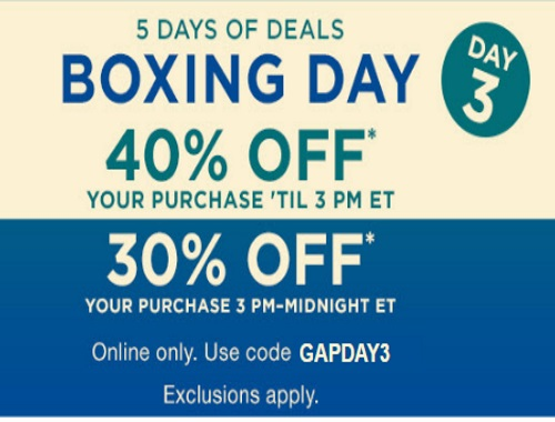 Gap Boxing Day 3 40% Off Before 3pm, 30% Off After Promo Code