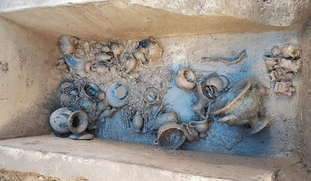 Sewerage works unearth Messapian children's tomb in southern Italy