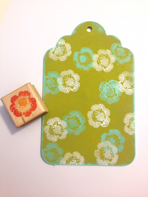 floral paint stamped wood tag lisa fulmer