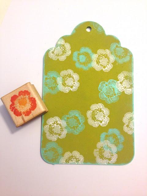 floral paint stamped wood tag lisa fulmer