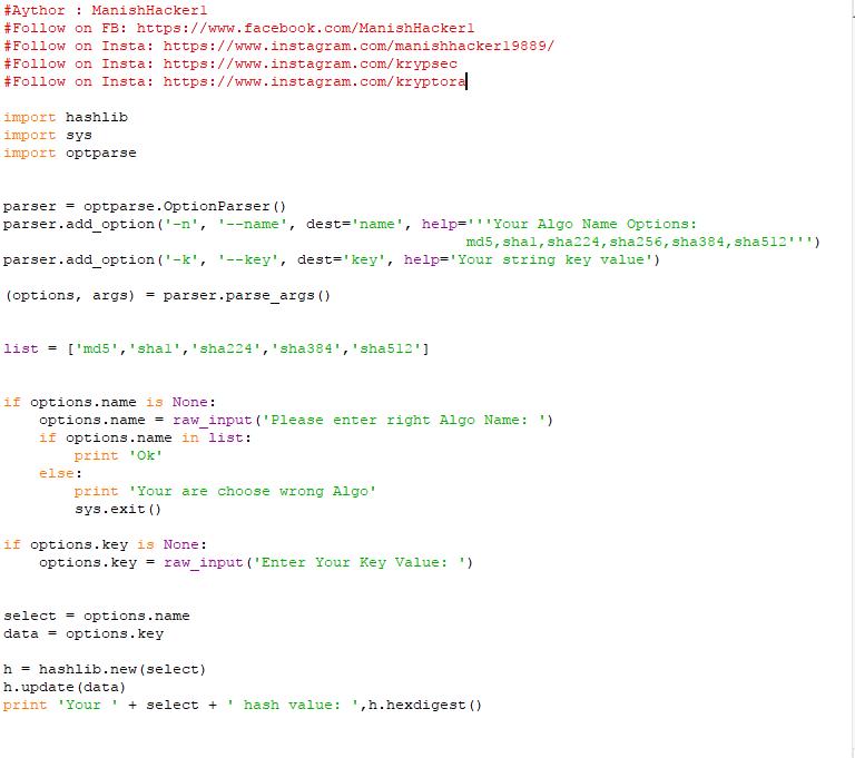 How to create Hash calculator Using Python