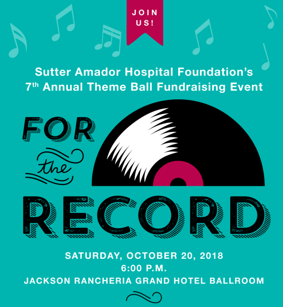"Sutter Amador Hospital's 7th Annual Theme Ball: ""For the Record"" - Sat Oct 20"