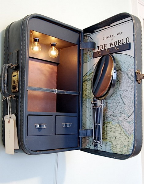 This cabinet made from a vintage suitcase is different.