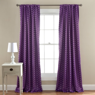 Purple bedroom ideas: Polka dot purple curtains