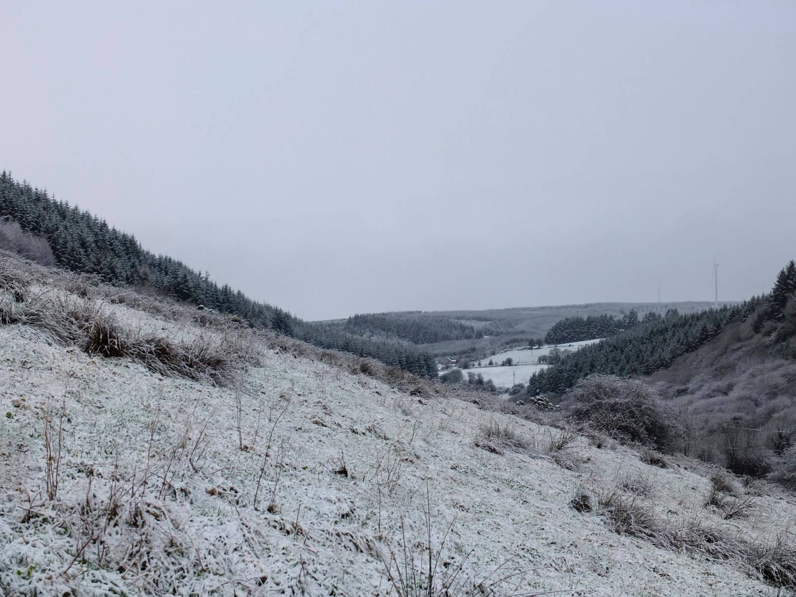 Mountain side landscape of North Cork captured on a snowy day.