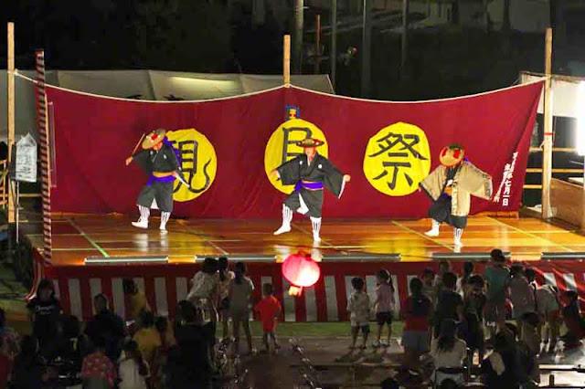 dancers, festival, children, rain, Okinawa, stage