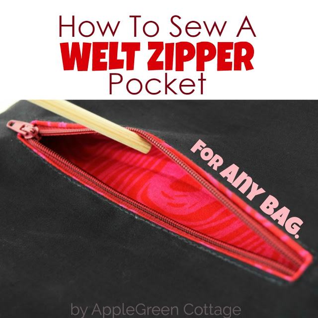 Learn how to sew a welt zipper pocket on any bag. Tutorial by Apple Green Cottage