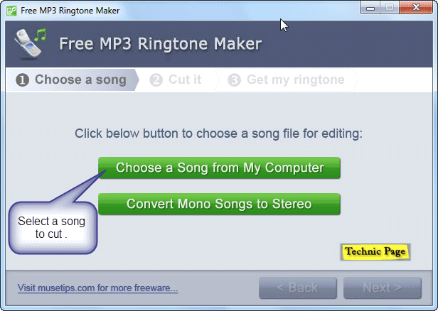 selet a song - free mp3 ringtone cutter
