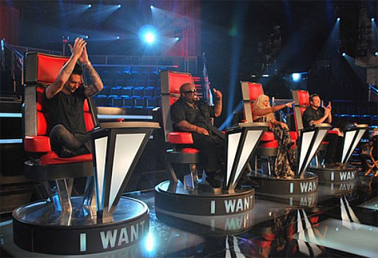 The Voice - judge in chairs Adam Levine, Cee Lo Green, Christina Aguilera, Blake Sheldon