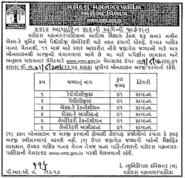 Vadodara Municipal Corporation (VMC) Recruitment 2016 For