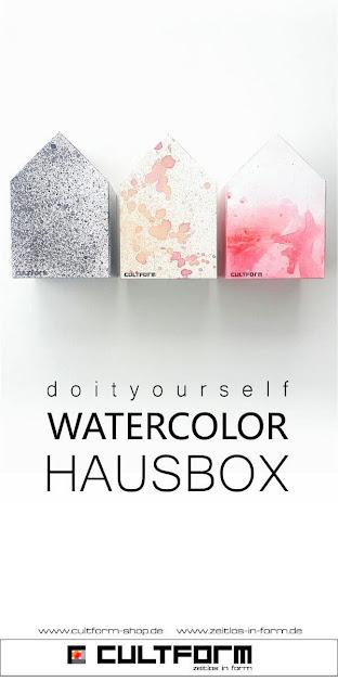 Die Hausbox von Cultform. Ein eindrucksvolles und doch einfaches DIY: kleine Geschenke individuell modern verpacken im aktuellen Watercolor-Trend: drei Beispielhäuser Pingrafik mit Text