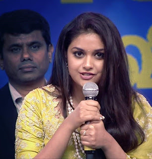 Keerthy Suresh in Saree with Cute and Lovely Smile in Aval Awards 3
