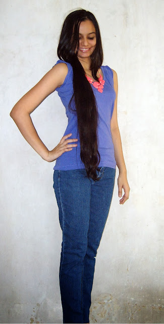 indian fashion blogger, neon necklace, long hair, how to wear neon, casual college outfits