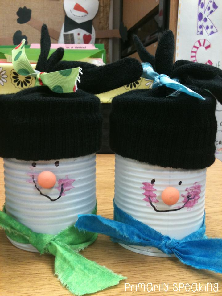 Soup Can Snowmen {A Parent Gift Idea} | Primarily Speaking