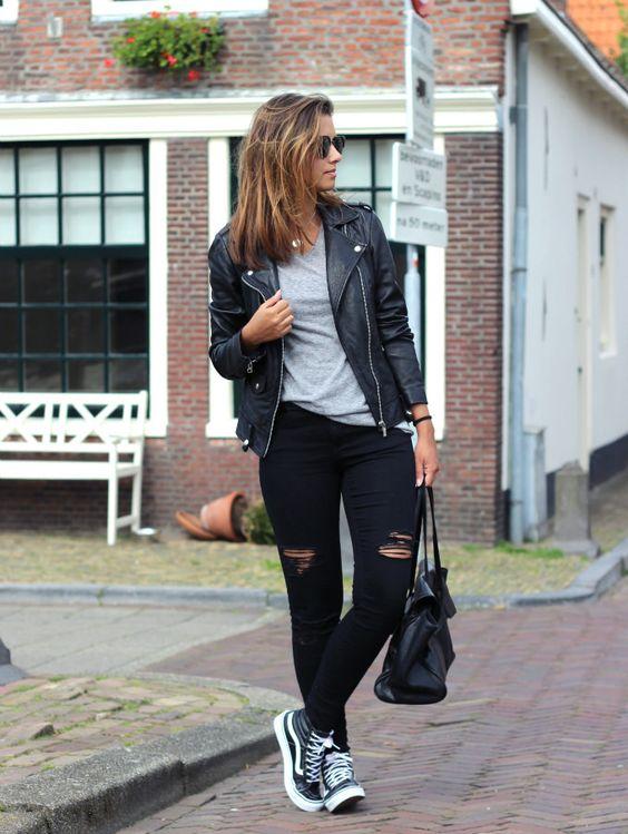 Street Style  - Biker Jacket + Black Vans Sk8 Hi Sneakers