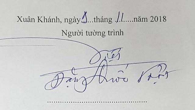 Tờ tường trình và chữ ký của ông Việt