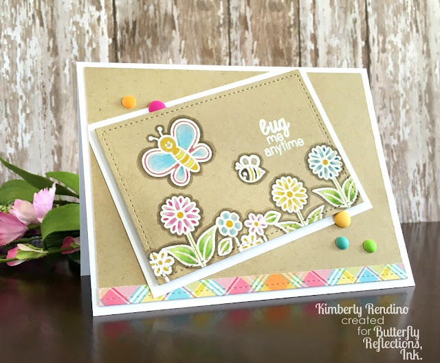 Sunny Studio Stamps: Backyard Bugs butterfly and flowers card by Kimberly Rendino for Butterfly Reflections Inc.
