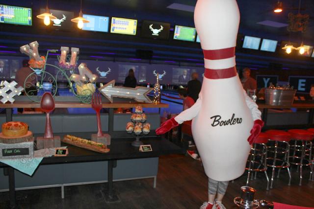 a Bowling pin mascot at Bowlero bowling alley