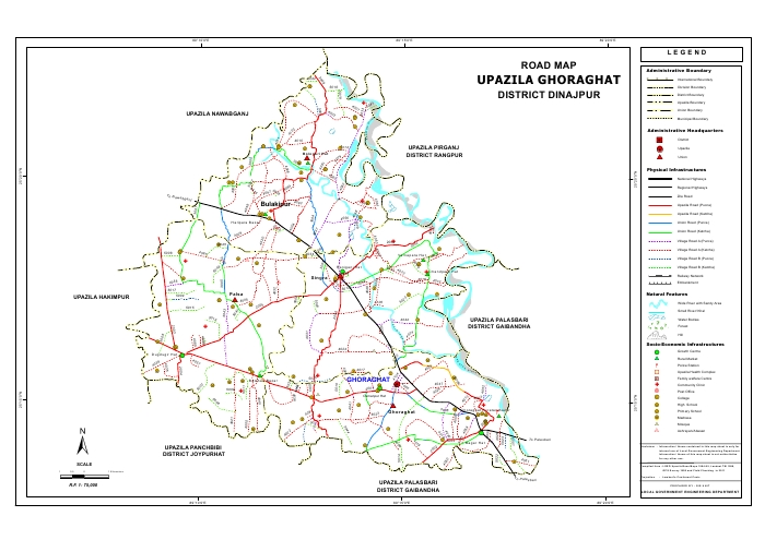 Ghoraghat Upazila Road Map Dinajpur District Bangladesh