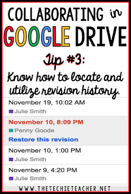 5 ways to avoid disasters when students are collaborating in Google Drive. Tip #3: Know how to locate and utilize revision history