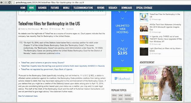 anunciando na telexfree bankruptcy