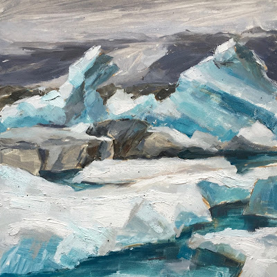 #118 'Icebergs, Jokulsarlon Iceland 3' 8×8″