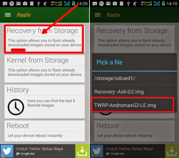 Gambar Update TWRP 2.8.6.0 untuk Andromax G2 LE (Limited Edition) 1