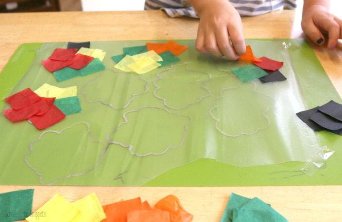 simple fall tissue paper suncatcher craft