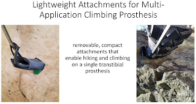 """title slide with text """"removable, compact attachments that enable hiking and climbing on a single transtibial prosthesis"""""""