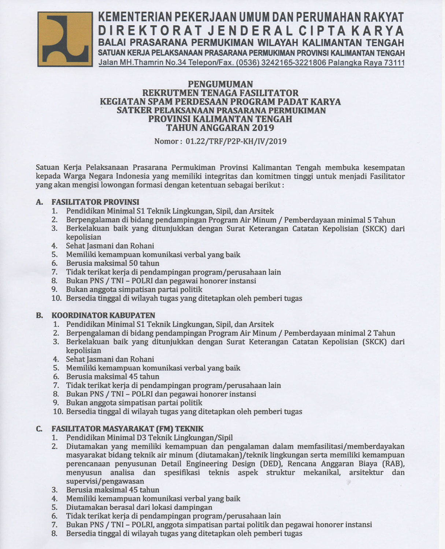 Rekrutmen Tenaga Fasilitator Kegiatan Spam Perdesaan Program Padat Karya Tahun 2019 Lowongan Kerja Kalimantan Tengah